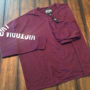 Victoria Sport Crop Top Burgundy + Silver NWT XL